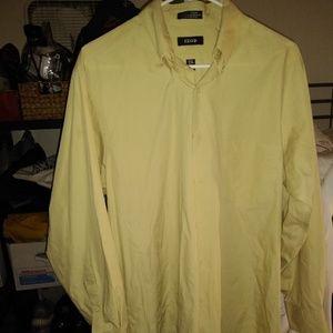IZOD YELLOW Button Down DRESS SHIRT LARGE